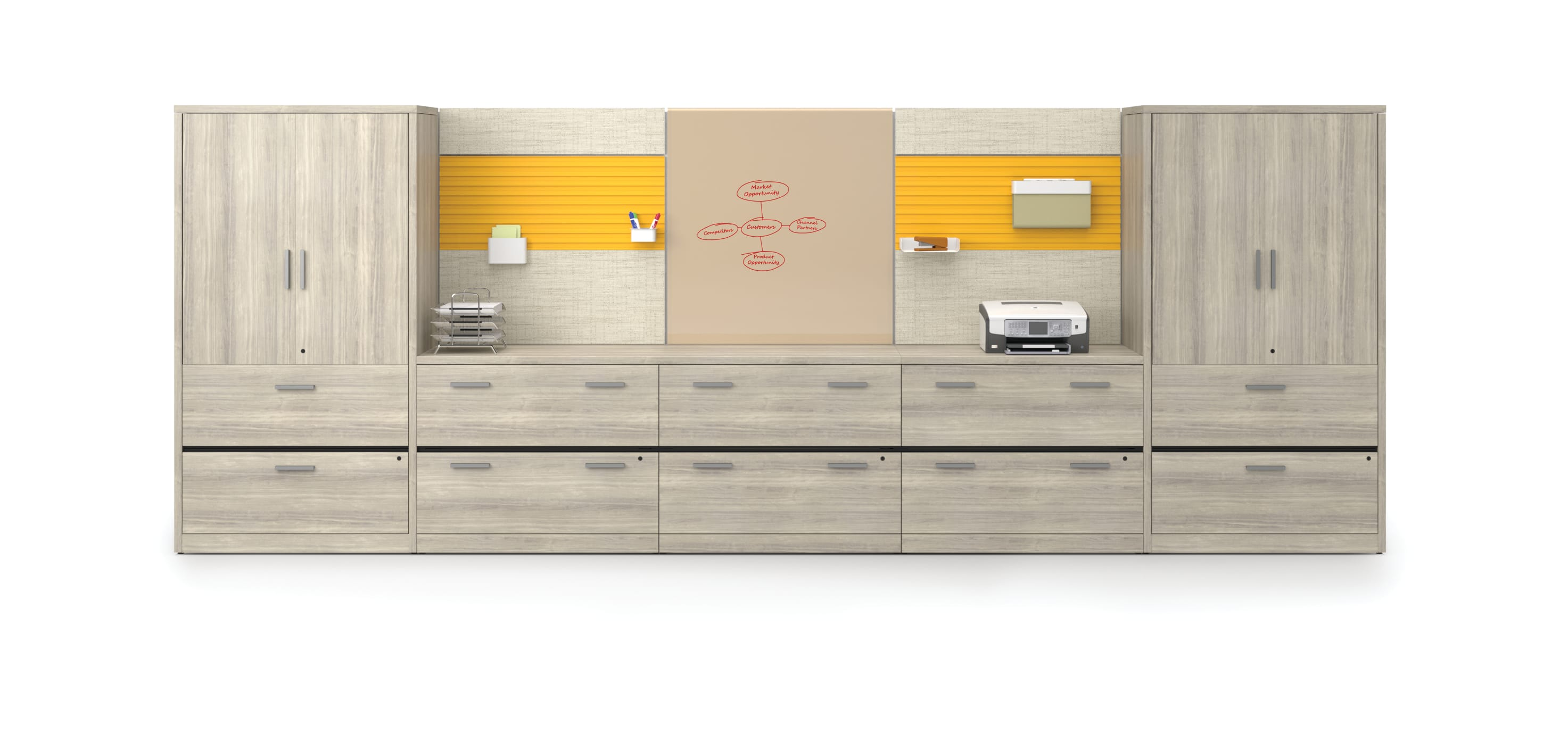 Yellow/tan 10500 Series storage wall with Workwall tiles