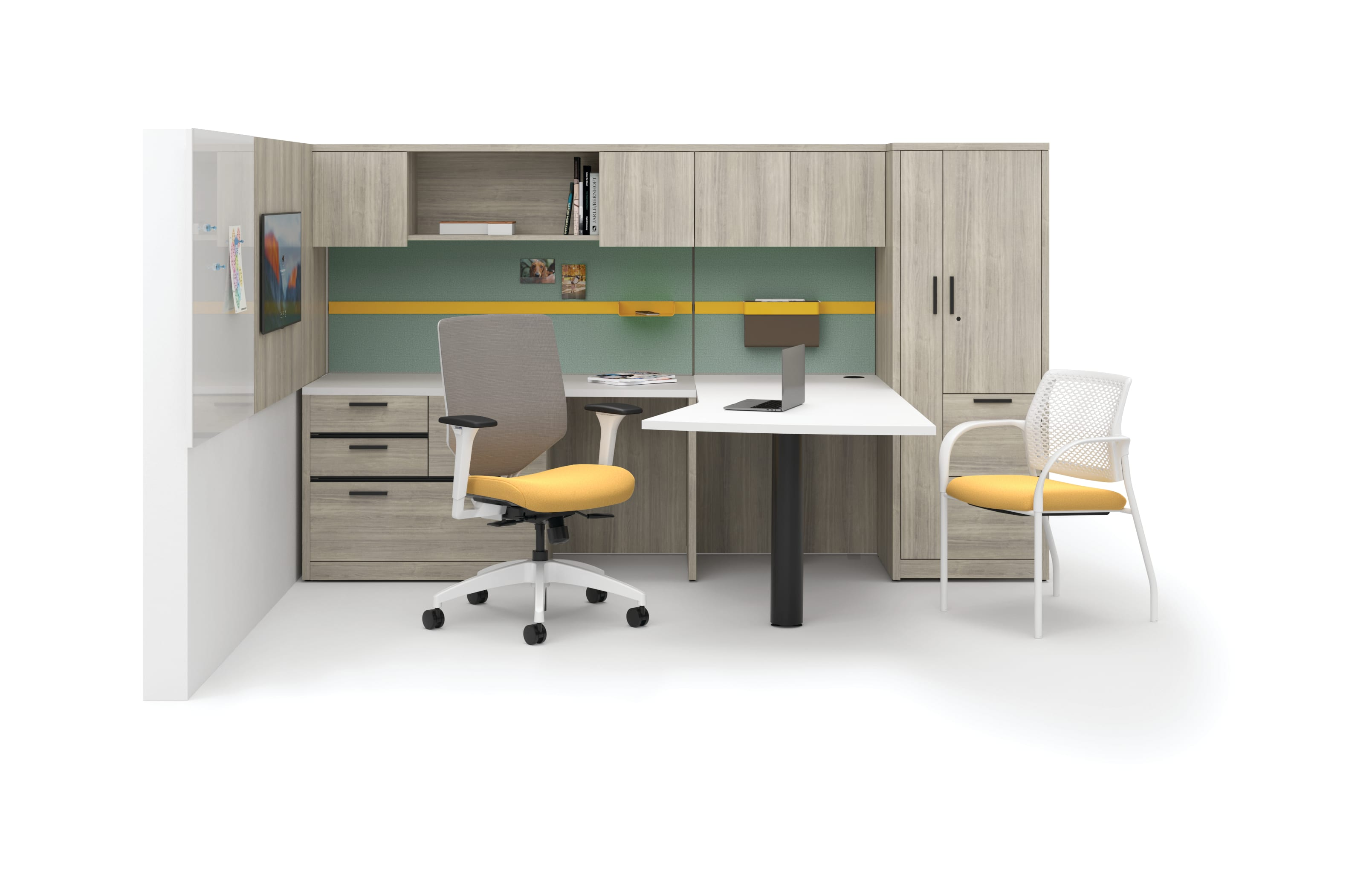 10500 Series Desk with Workwall tiles and Solve and Ignition seating