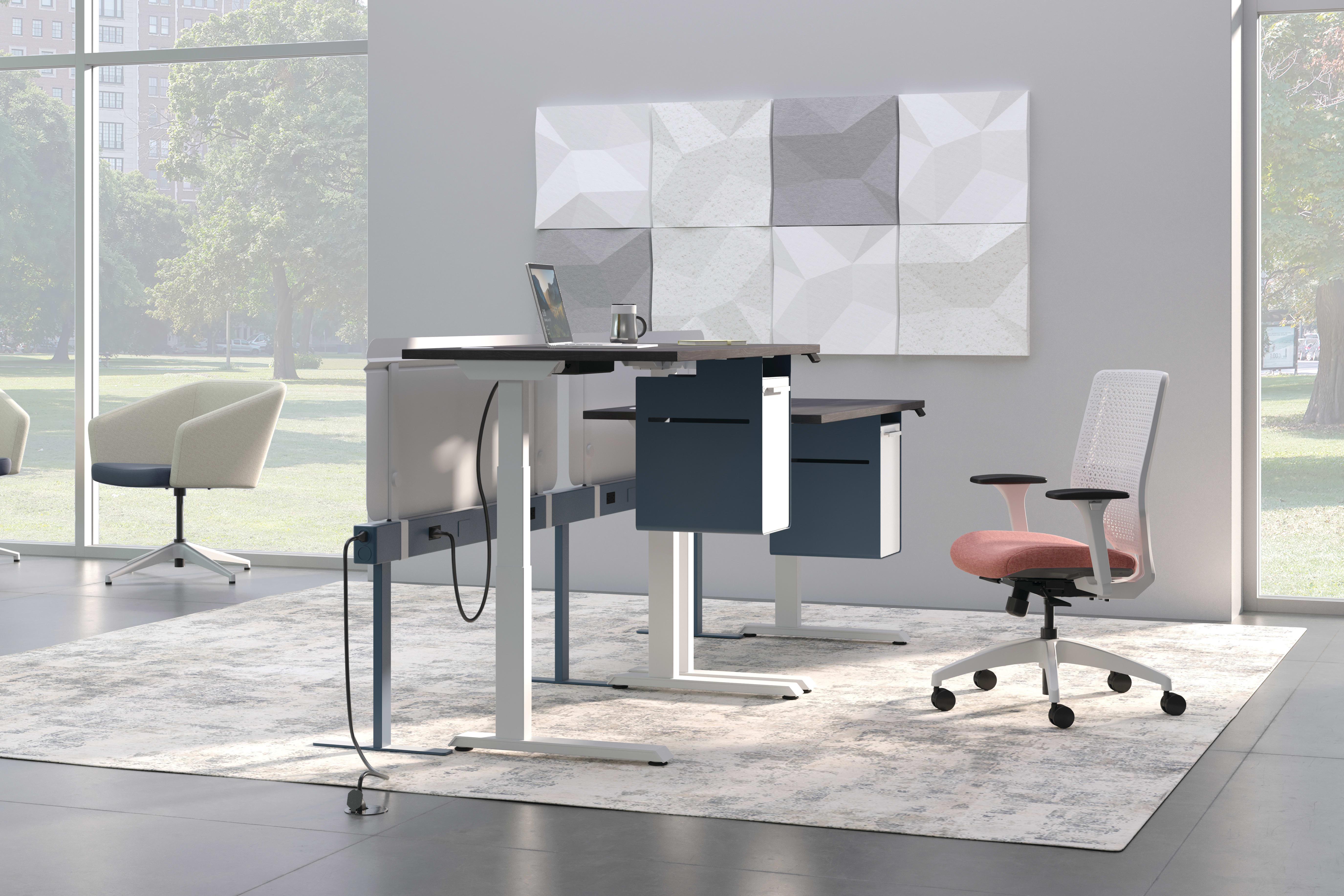 Solve Chair with Coordinate Height Adjustable Table, Gravitation Beam and Flock Chairs.