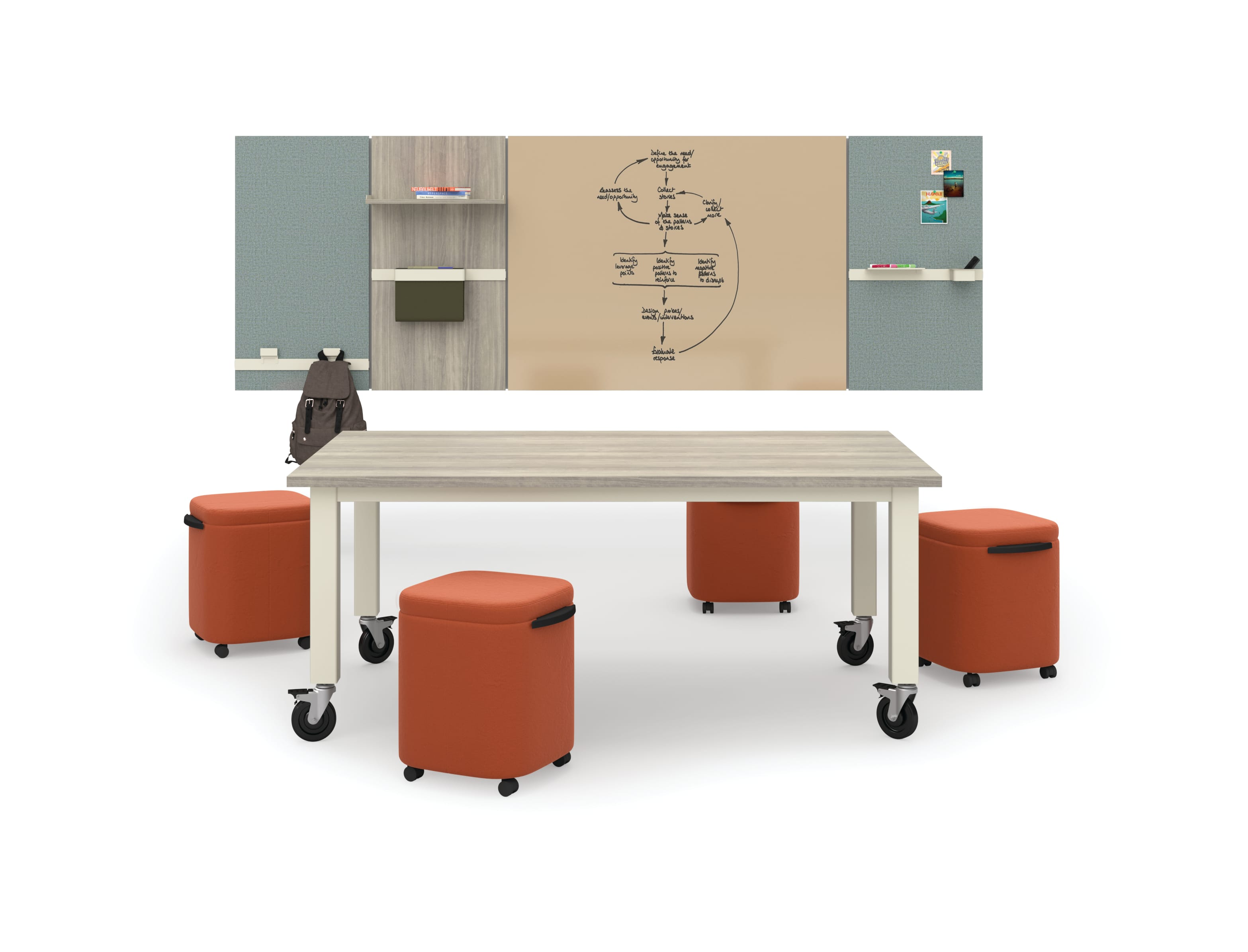 Preside Table with Astir poufs in open setting around Workwall tiles