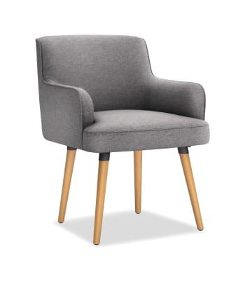 Matter Gray Upholstered Chair Wood Leg Base