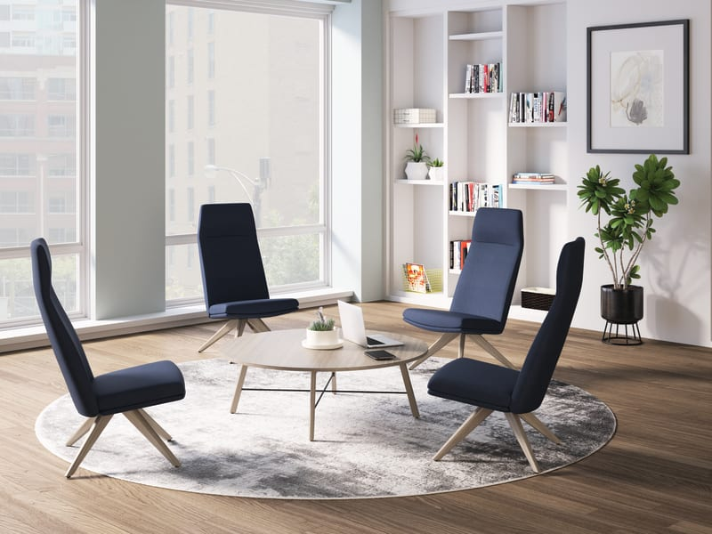 Mav high-back chairs and Scramble table in collaborative setting