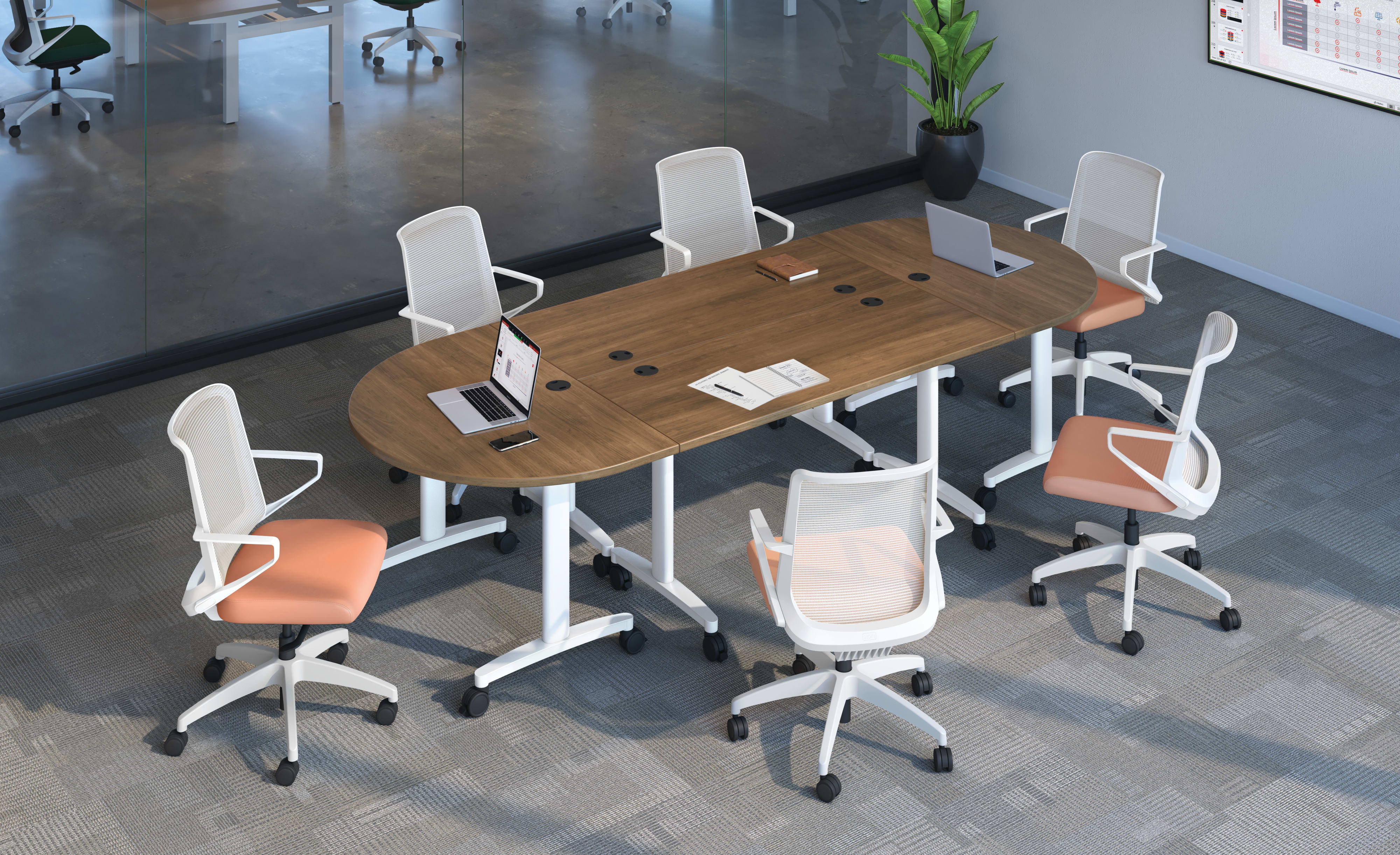 Huddle rectangle and half round tables  in Pinnacle tops with grommets and Designer White legs shown with Cliq task seating.