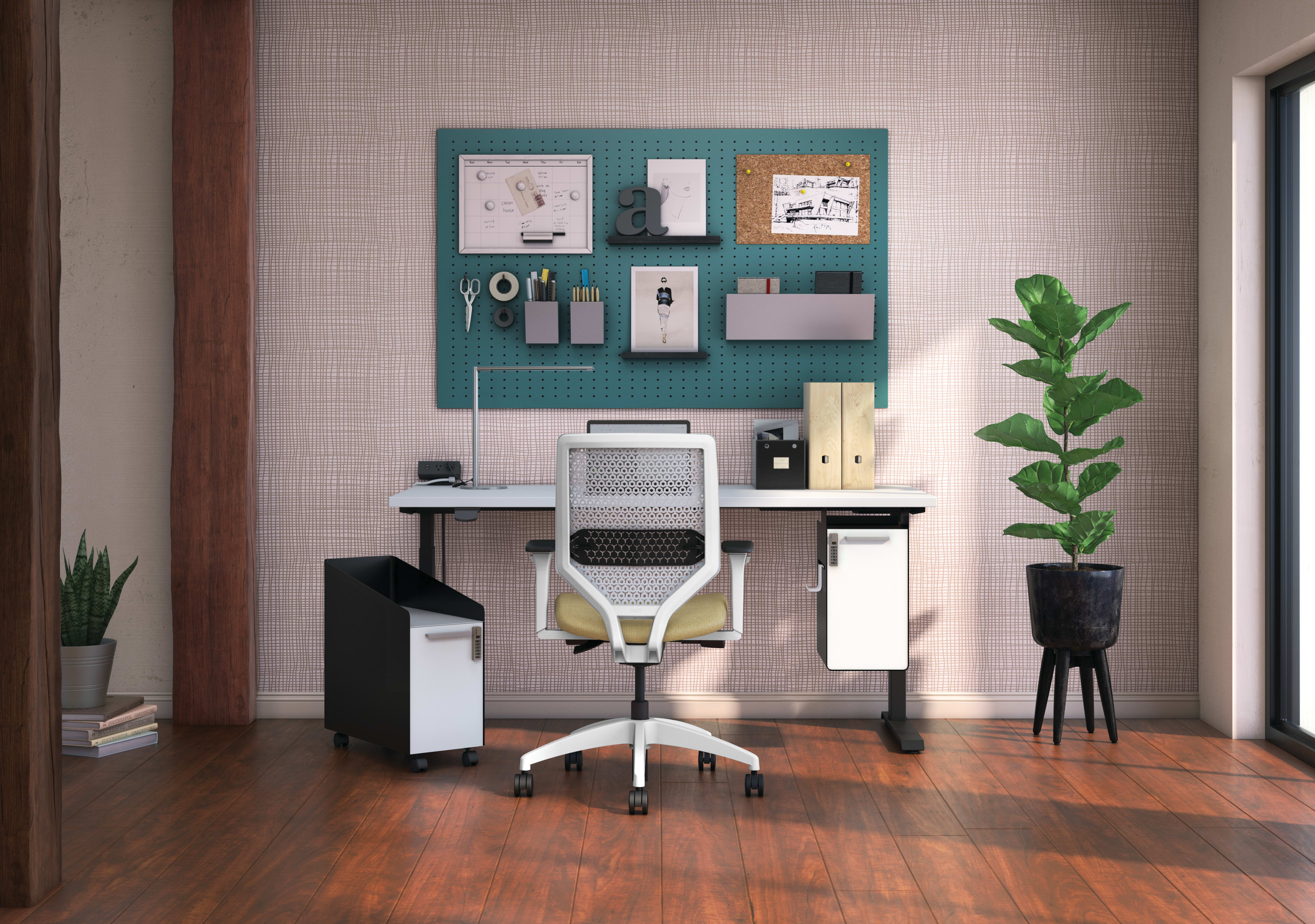 Coordinate height-adjustable desk with Solve seating and Fuse pedstals featuring digilock option.