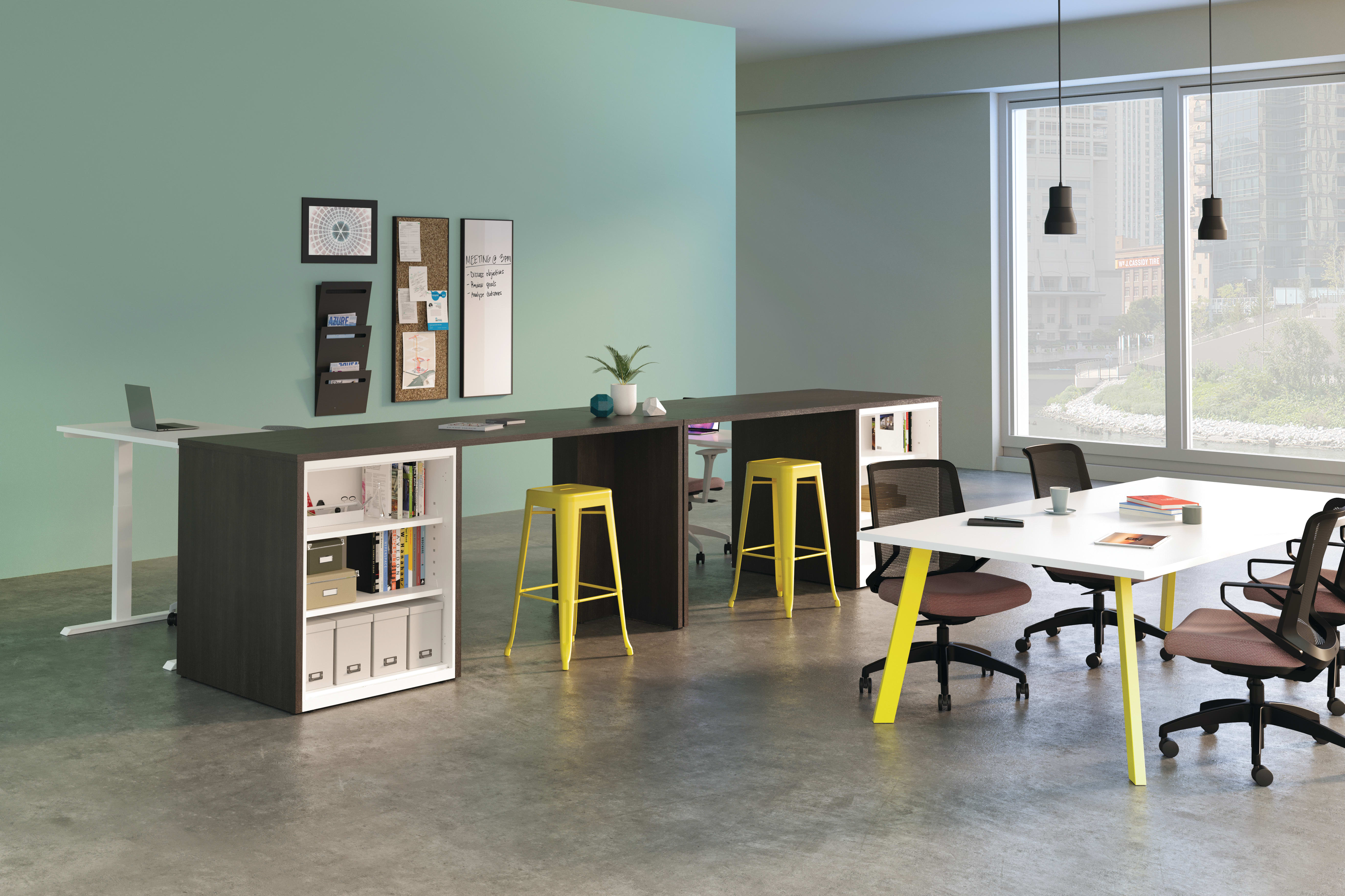 Build Stools, Cliq Task Chairs, Preside Conference Table, Storage Islands with Contain Storage and Coordinate Height Adjustable Desk.