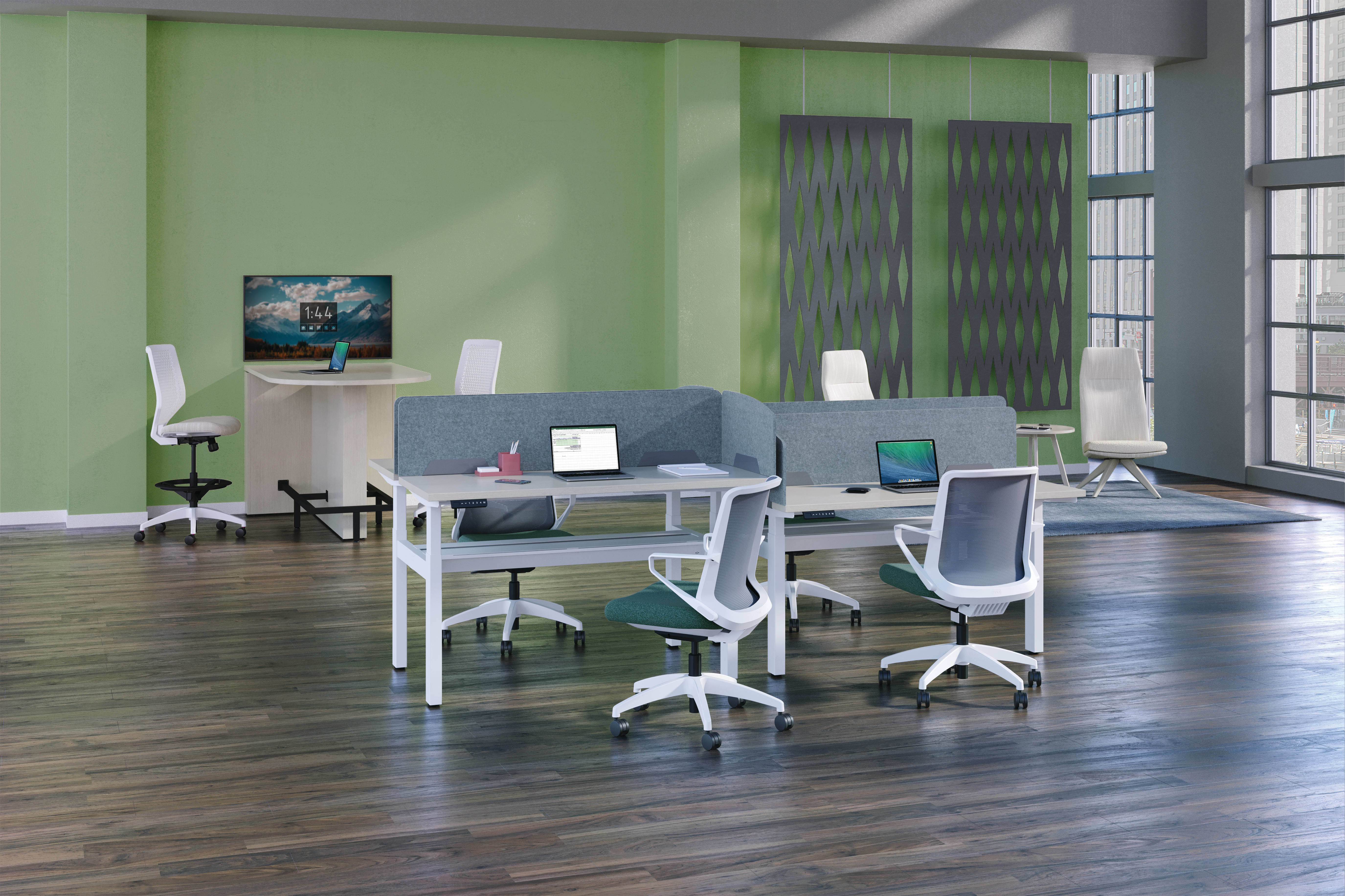 Universal PET Screens, Cliq seating, Empower workstations, Preside Media Table, Solve Stool and Mav seating.