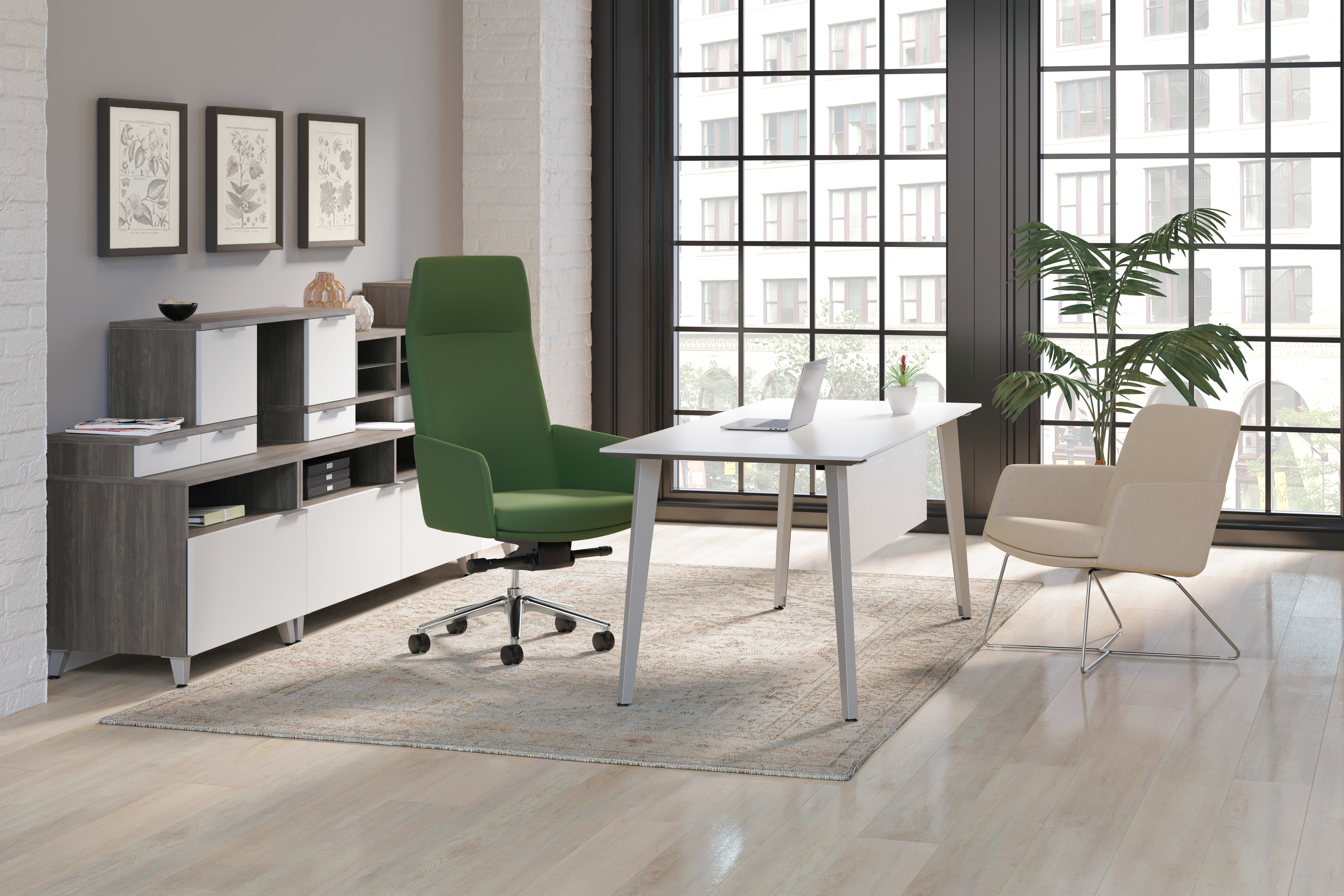 Mav swivel high-back chair and  mid-back chair with wire base in a private office.