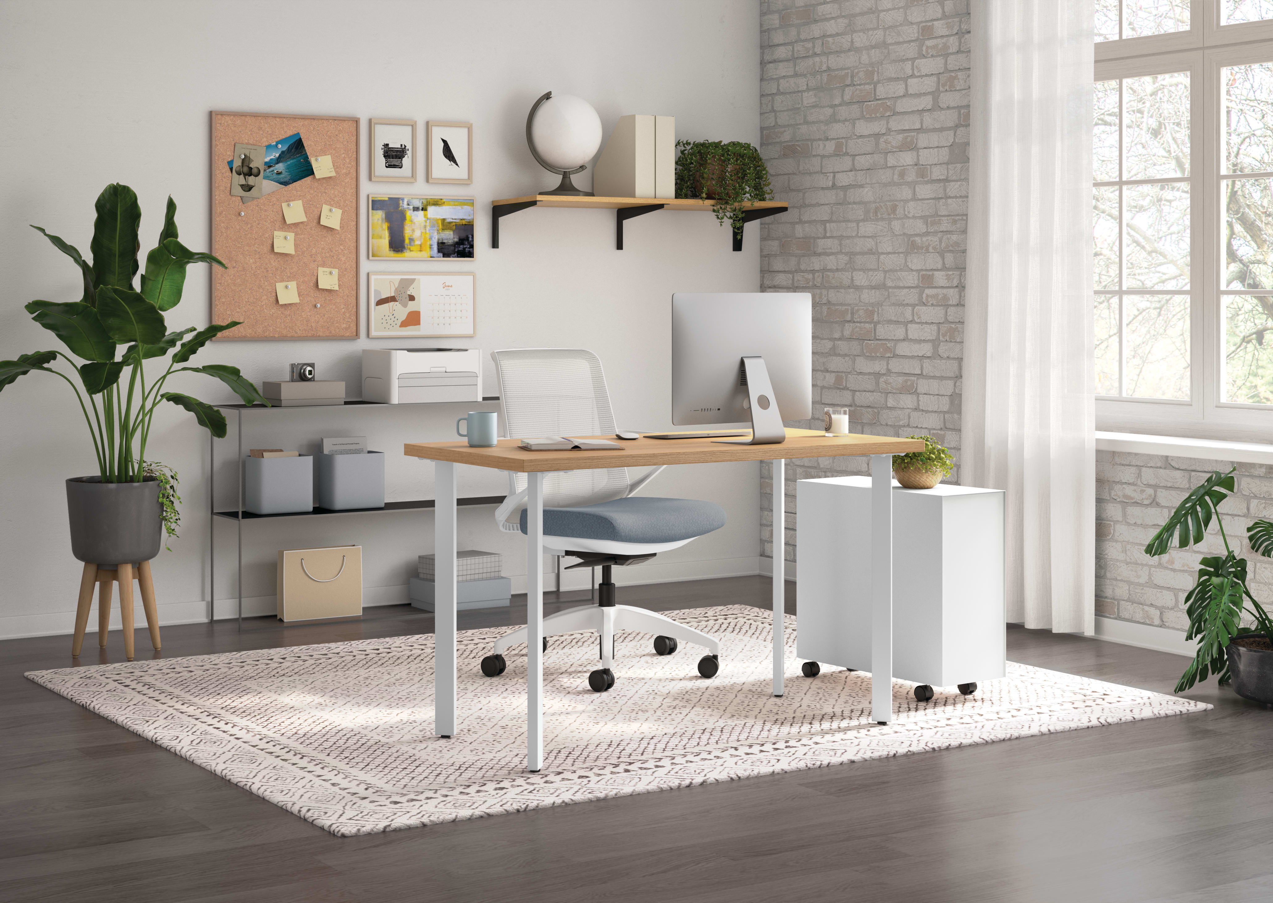 Cliq Task Chair with Coze Table Desk and Fuse Slim Mobile Pedestal
