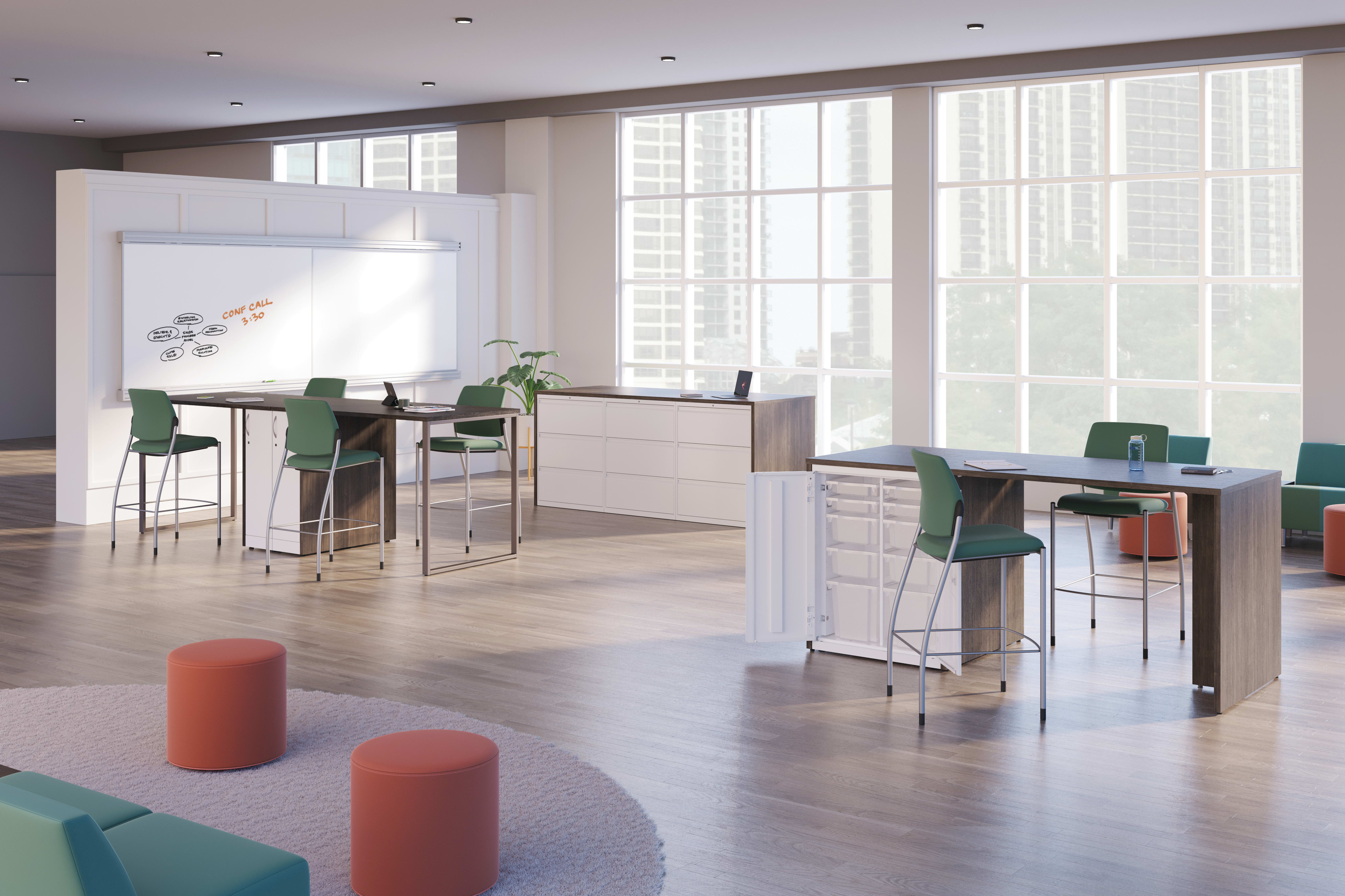 Ignition café height stools shown at café height Storage Islands with Flock lounge seating.