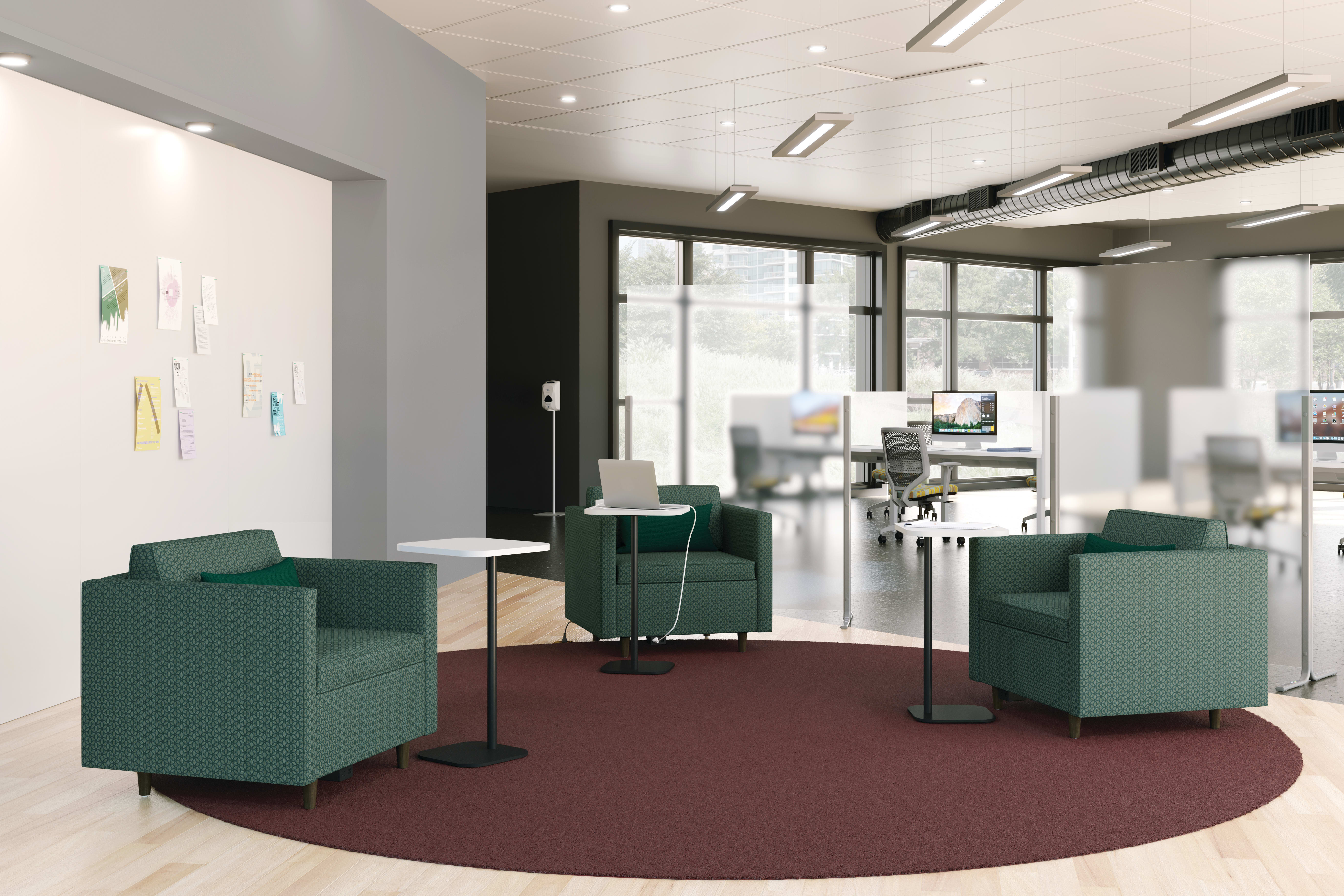 West Hill Lounge Seating with Birk Personal Tables and Floor Screens.