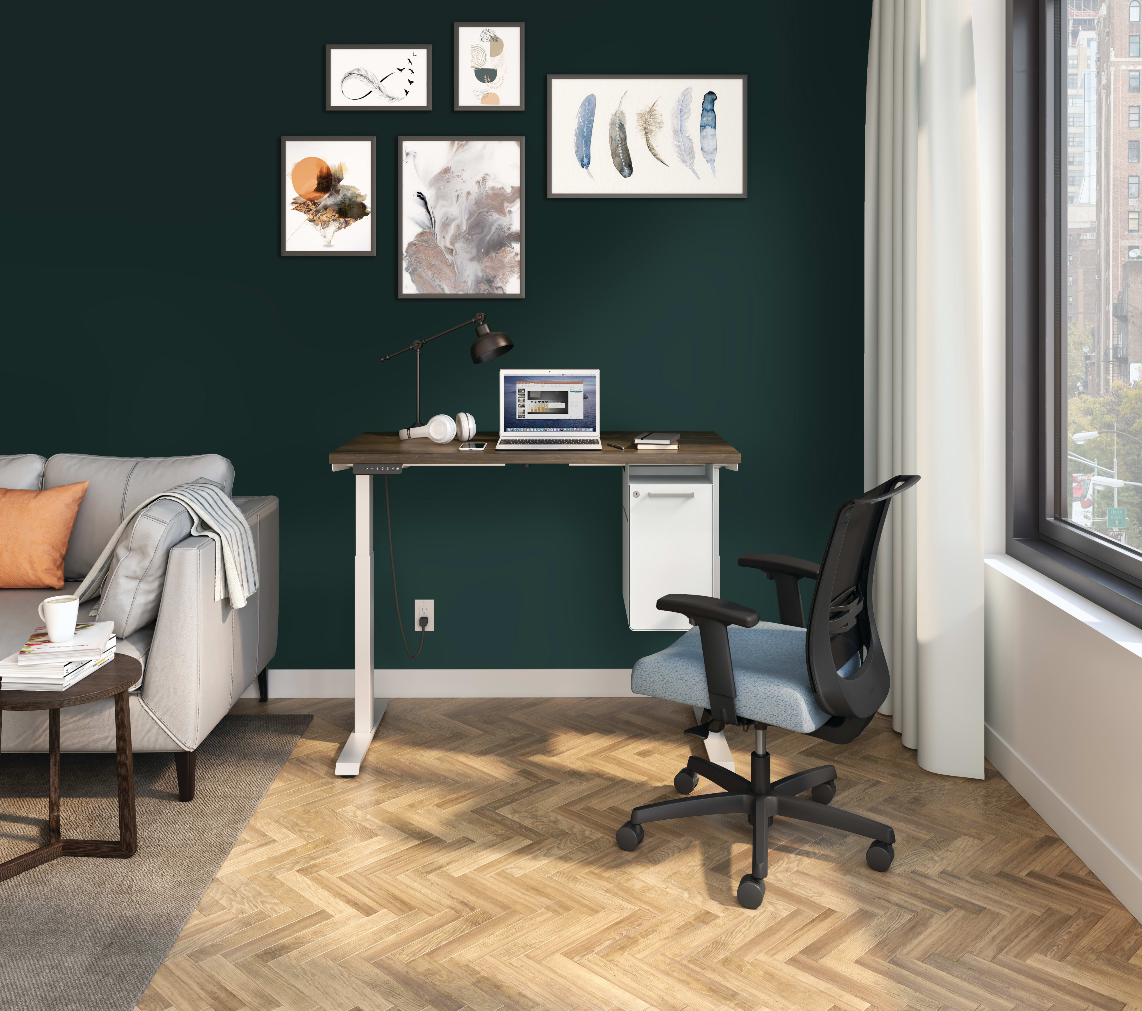 Coordinate Height Adjustable Base with Coze Worksurface and Fuse Undermount Storage and Convergence Task Chair.