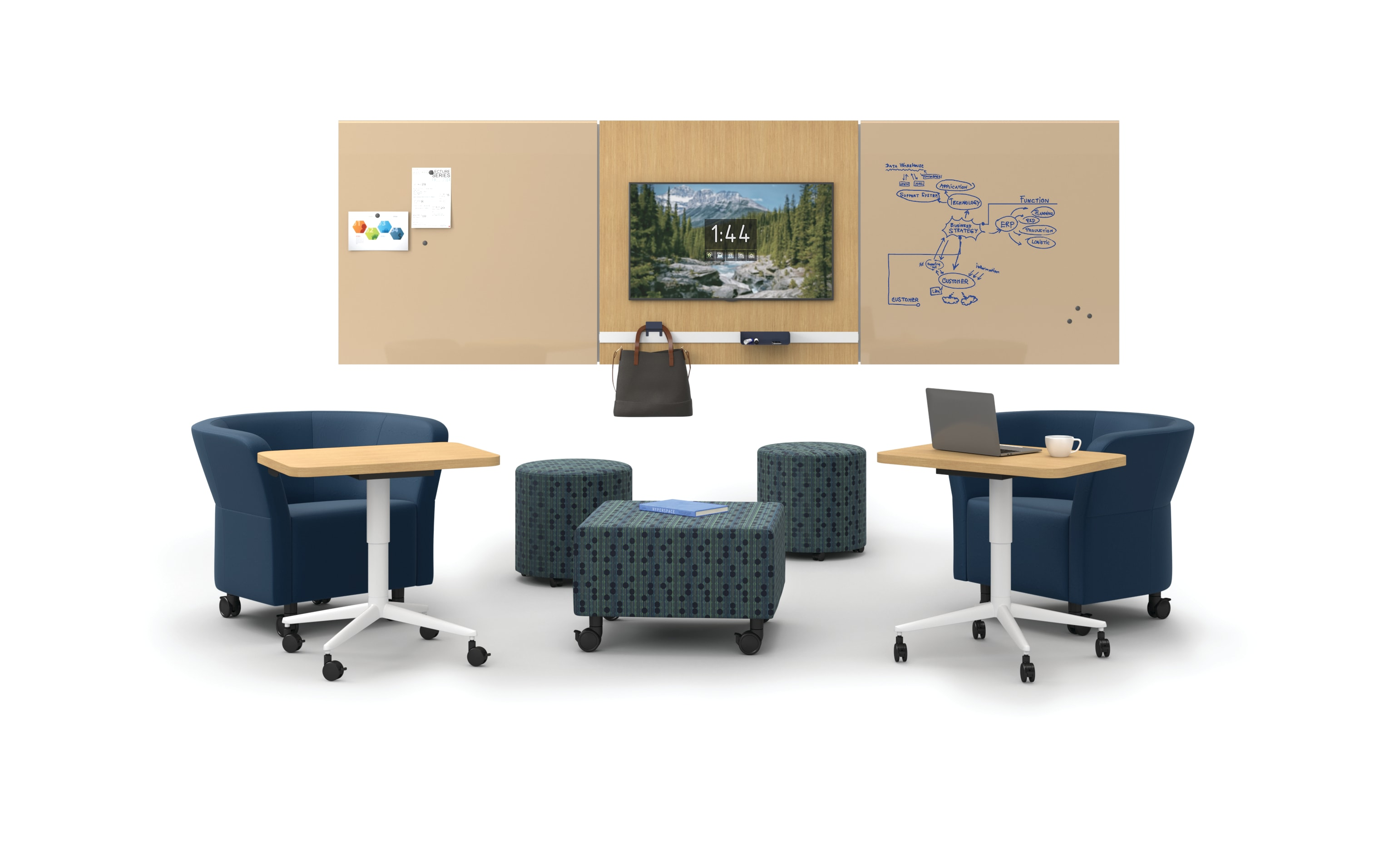 Flock seating with Huddle tables around Workwall open plan setting