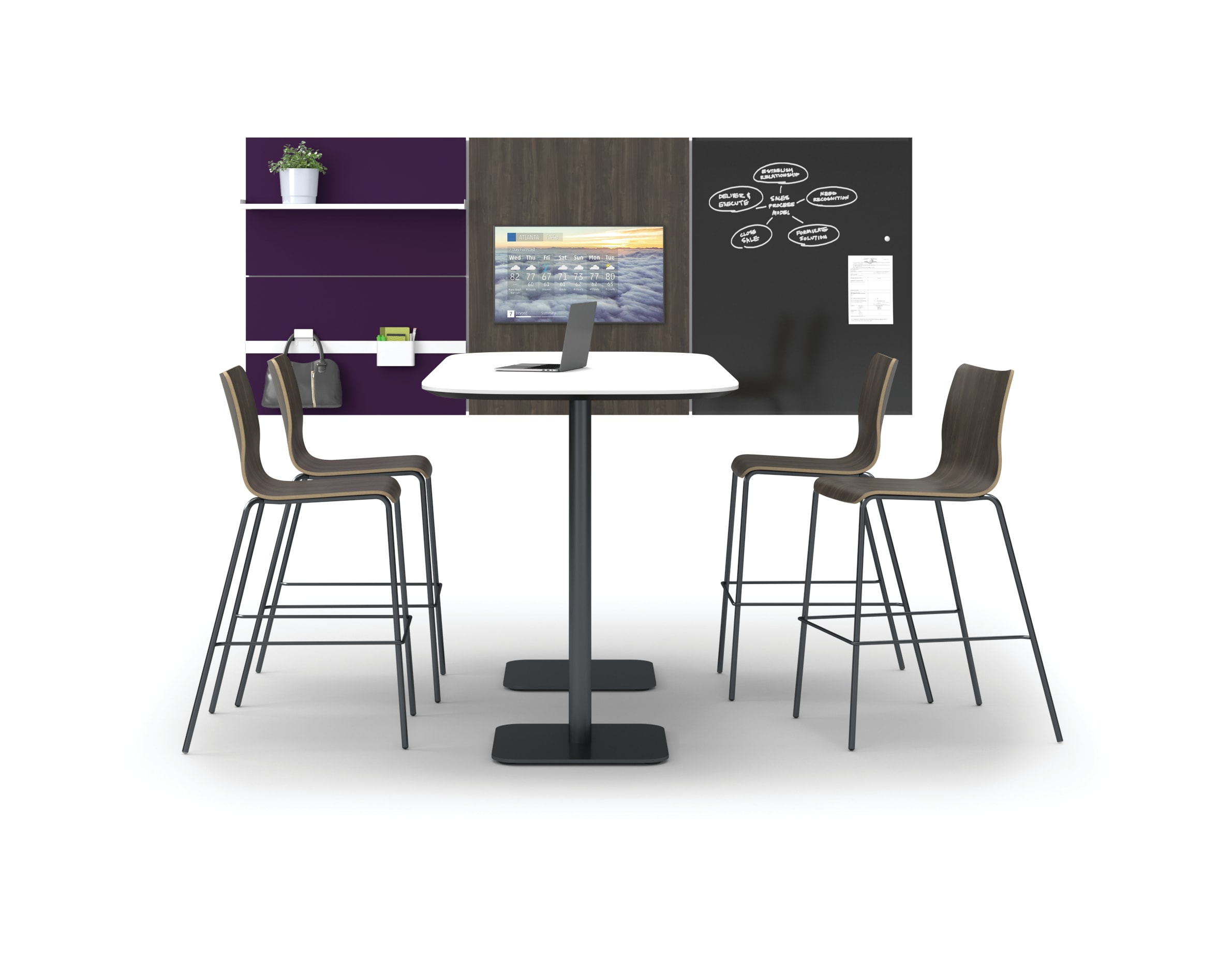 Birk table with Ruck chairs in open collaborative setting with Workwall