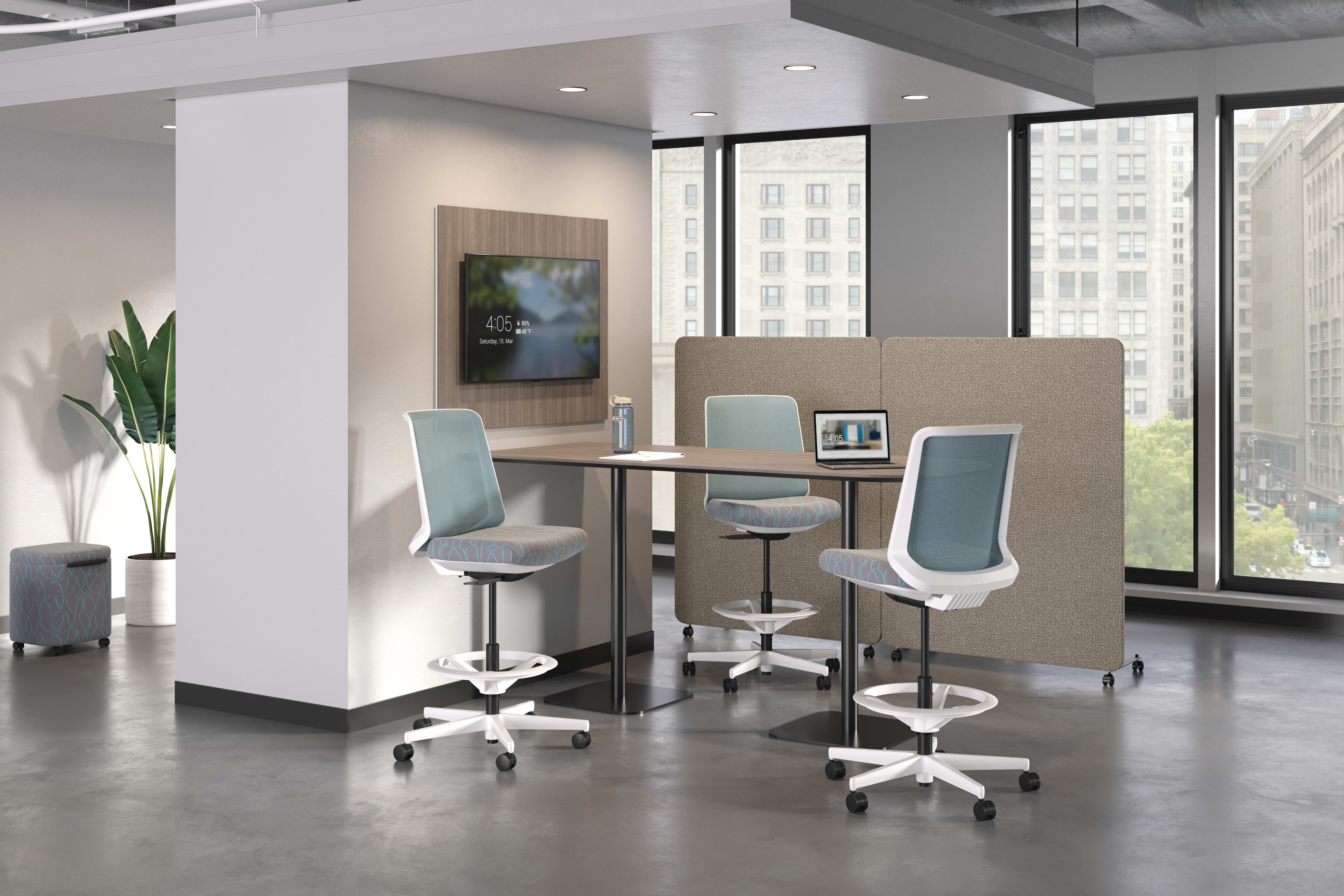 Cliq Stools with Birk table, Softline Floor Screen and Work Wall media Tile.