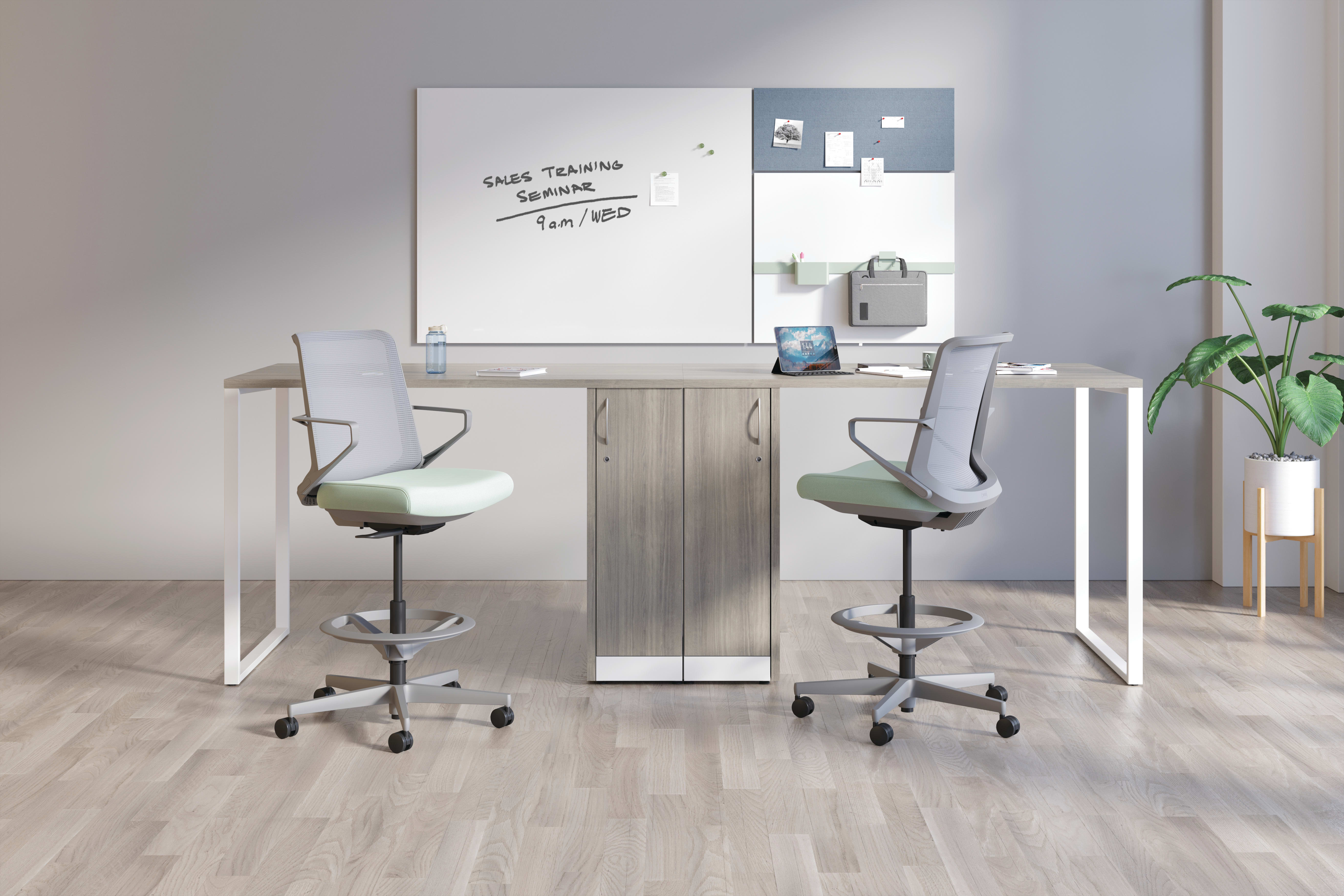 Cliq Stools with Storage Islands and Contain Storage, and Work Wall Tiles.