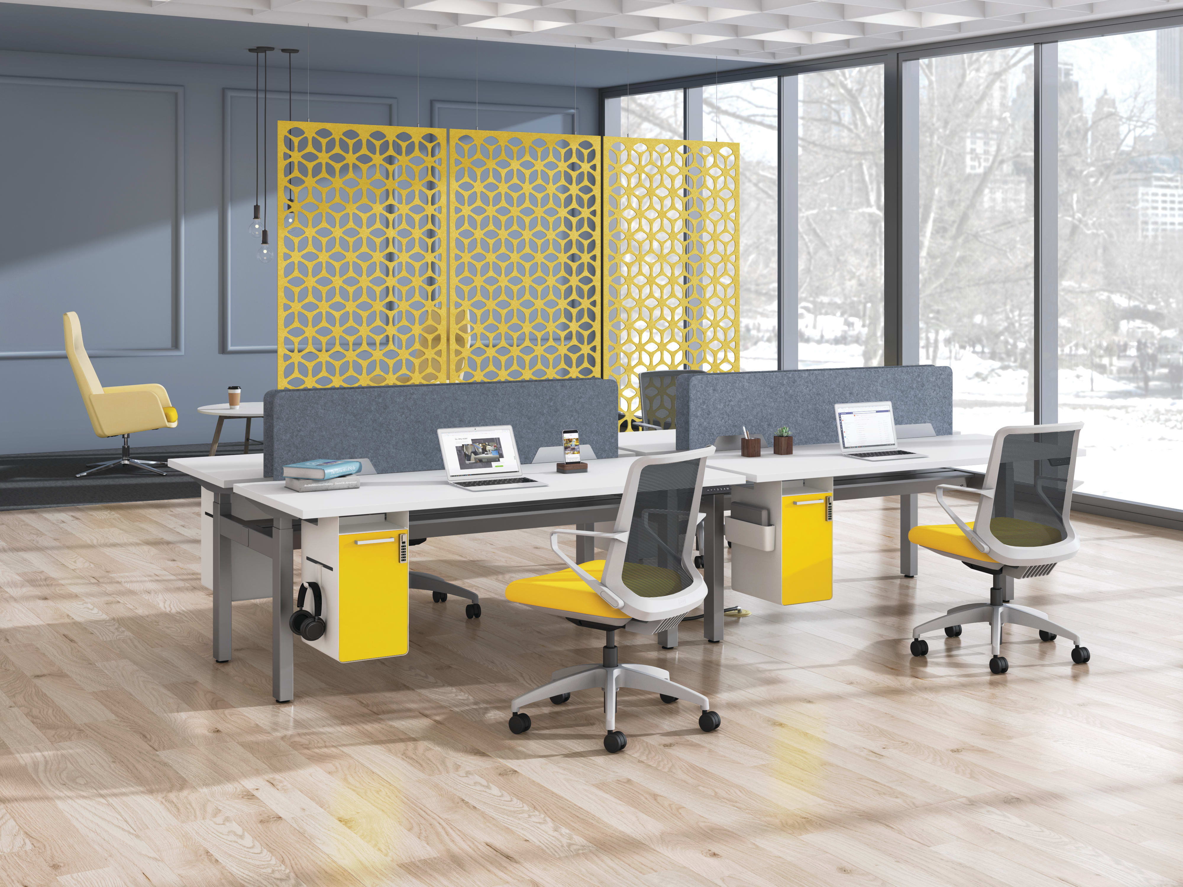 Empower workstations shown with Fuse pedestals and Cliq seating. Open plan space is divided by Unika Vaev hanging screens.