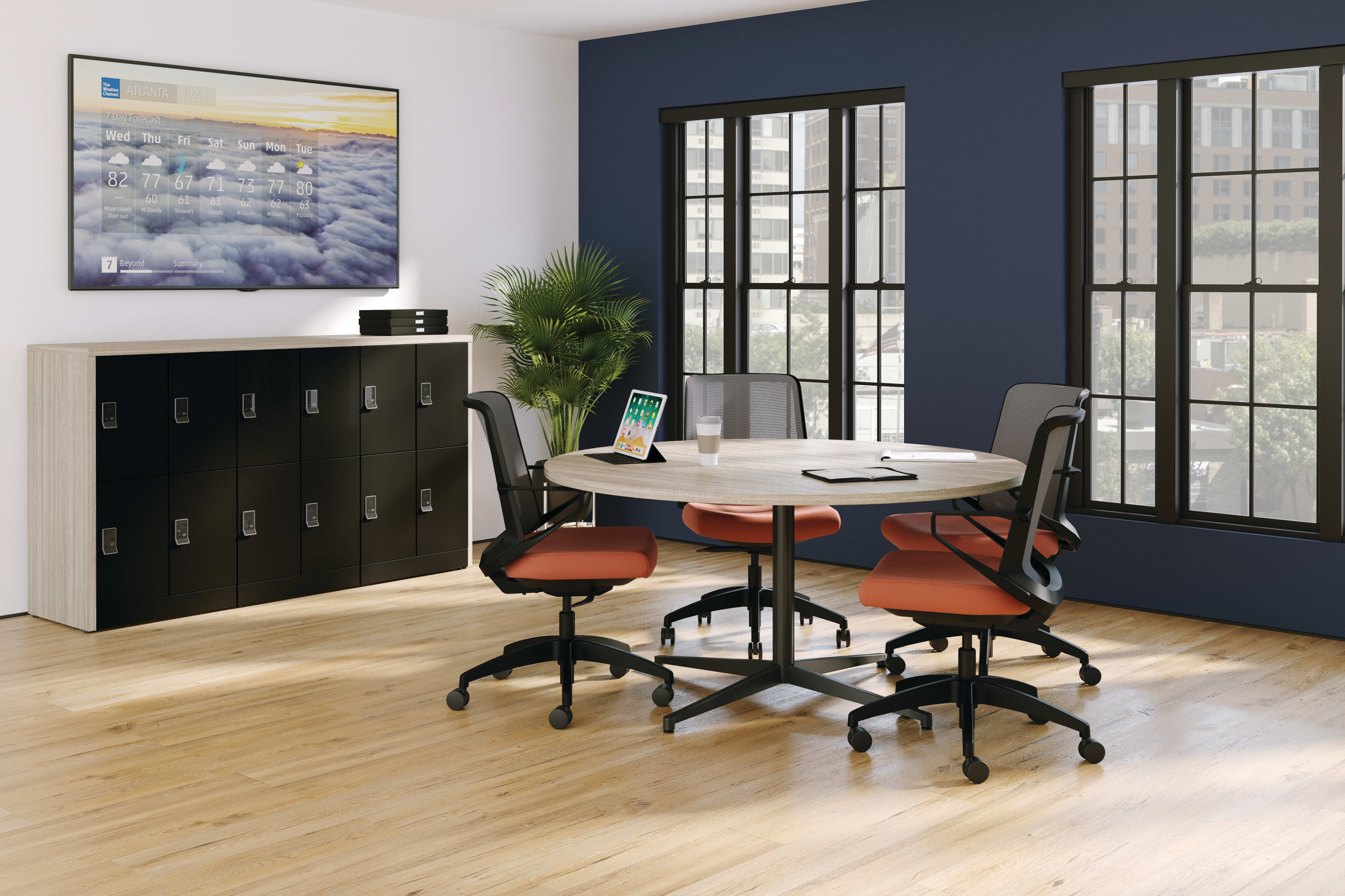 Preside Conference Table, Cliq Task Seating, Contain Lockers with Storage Islands.