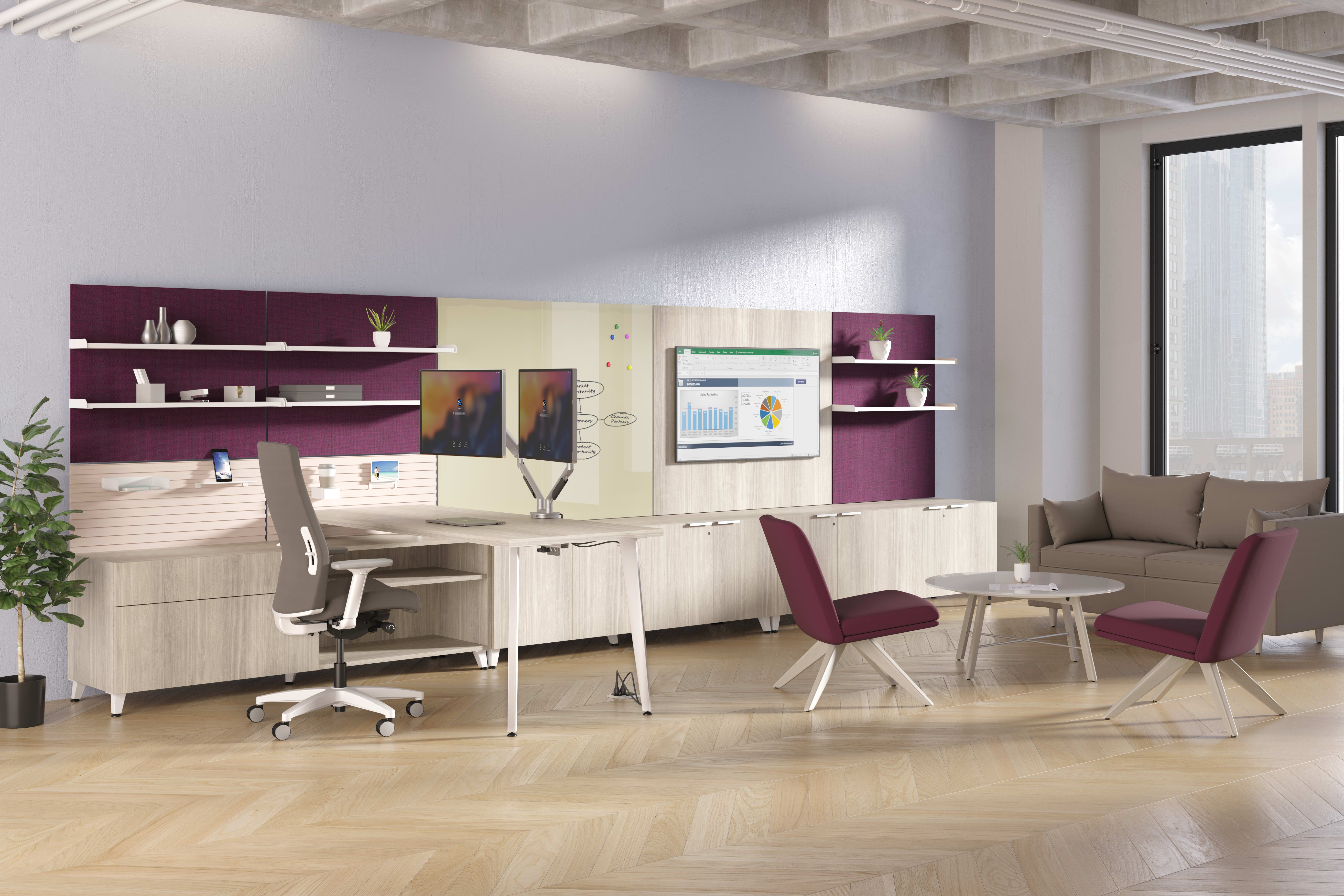 Voi large private office with Workwall tiles and Ignition, Mav, Astir, West Hill seating