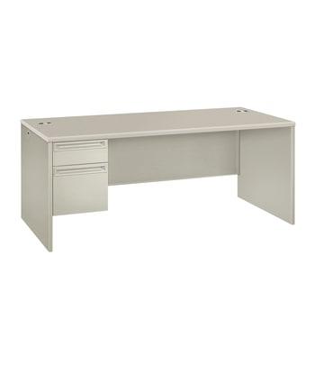 "HON 38000 Series Left Pedestal Desk   1 Box / 1 File Drawer   72""W   Patterned Gray Laminate   Light Gray Finish"