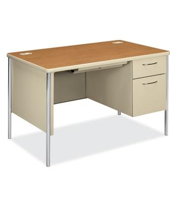 "HON Mentor Small Office Desk | 1 Box / 1 File Drawer | Chrome Legs | 48""W | Harvest Laminate | Putty Finish"