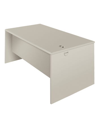 "HON 38000 Series Desk Shell   60""W x 30""D   Patterned Gray Laminate   Light Gray Finish"