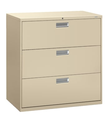 "HON Brigade 600 Series Lateral File | 3 Drawers | Aluminum Pull | 42""W 