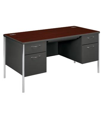 "HON Mentor Double Pedestal Desk | 2 Box / 2 File Drawers | Chrome Legs | 60""W | Mahogany Laminate | Charcoal Finish"