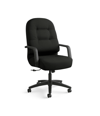 HON Pillow-Soft Executive High-Back Chair | Center-Tilt | Fixed Arms | Black Leather