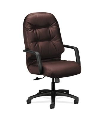 HON Pillow-Soft Executive High-Back Chair | Center-Tilt | Fixed Arms | Burgundy Leather