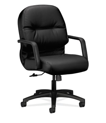 HON Pillow-Soft Mid-Back Chair | Center-Tilt | Fixed Arms | Black Leather