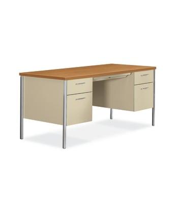"HON 34000 Series Double Pedestal Desk | 2 Box / 2 File Drawers | 60""W | Harvest Laminate | Putty Finish"