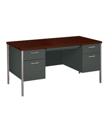 "HON 34000 Series Double Pedestal Desk | 2 Box / 2 File Drawers | 60""W | Mahogany Laminate | Charcoal Finish"