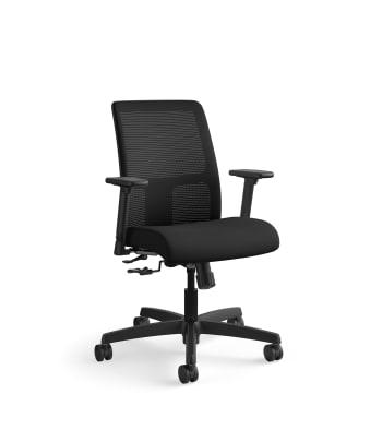 HON Ignition Low-Back Mesh Task Chair   Center-Tilt   Adjustable Arms   Black Fabric