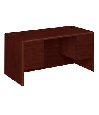 "HON 10700 Series Double Pedestal Desk   2 Box / 2 File Drawers   60""W   Mahogany Finish"