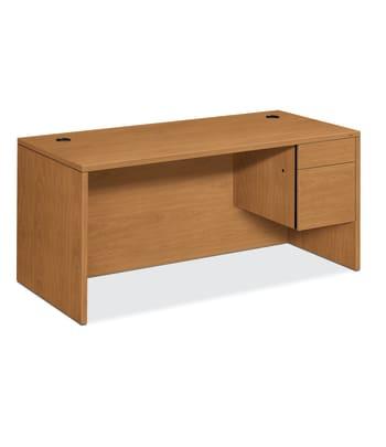 "HON 10500 Series Right Pedestal Desk   1 Box / 1 File Drawer   66""W   Harvest Finish"