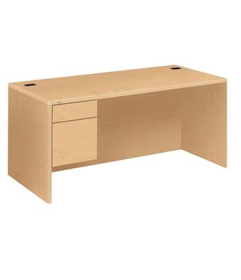 "HON 10700 Series Left Pedestal Desk   2 Box / 1 File Drawer   66""W   Natural Maple Finish"