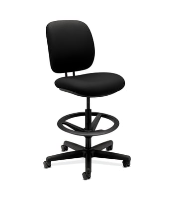 HON ComforTask Stool   Extended Height, Footring   Black Fabric