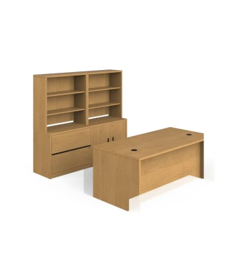 "HON 10500 Series Storage Workstation | Desk, Lateral, Storage, 2 Bookcases | 72""W x 98""D 