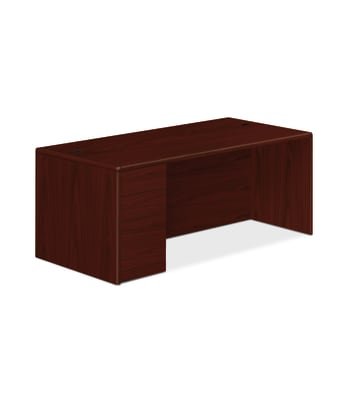"HON 10700 Series Left Pedestal Desk | 1 Box / 1 File Drawer | 72""W | Mahogany Finish"