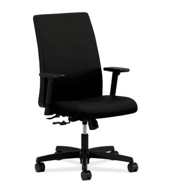 HON Ignition Mid-Back Task Chair   Center-Tilt   Adjustable Arms   Black Fabric