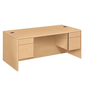 "HON 10700 Series Double Pedestal Desk   2 Box / 2 File Drawers   72""W   Natural Maple Finish"