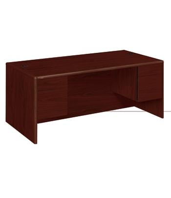 "HON 10700 Series Double Pedestal Desk   2 Box / 2 File Drawers   72""W   Mahogany Finish"