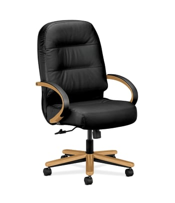 HON Pillow-Soft Executive High-Back Chair | Center-Tilt | Fixed Arms | Wood Trim | Black Leather