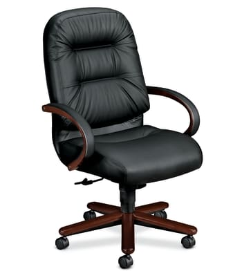 HON Pillow-Soft Executive High-Back Chair | Center-Tilt | Fixed Arms | Wood Trim | Black Leather