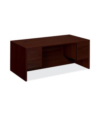 "HON 10500 Series Double Pedestal Desk | 2 Box / 2 File Drawers | 72""W | Mahogany Finish"