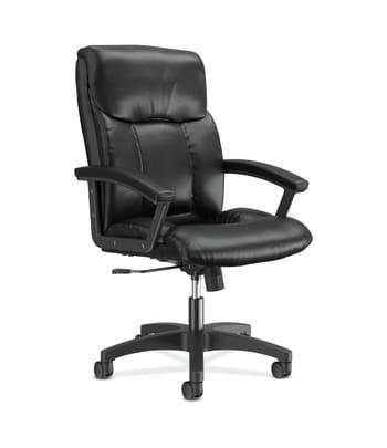 HON High-Back Executive Chair | Center-Tilt | Fixed Arms | Black SofThread Leather