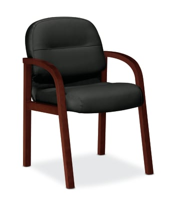 HON Pillow-Soft Guest Chair | Fixed Arms | Mahogany Finish | Black Leather