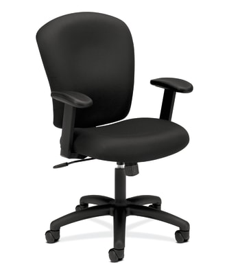 HON Mid-Back Task Chair | Center-Tilt | Adjustable Arms | Black Fabric