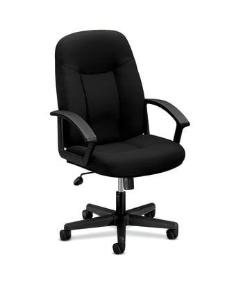 HON High-Back Executive Chair | Center-Tilt | Fixed Arms | Black Fabric