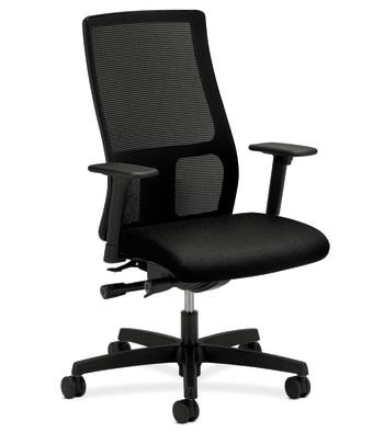 HON Ignition Mid-Back Mesh Task Chair   Synchro-Tilt, Back Angle   Adjustable Arms   Black Fabric